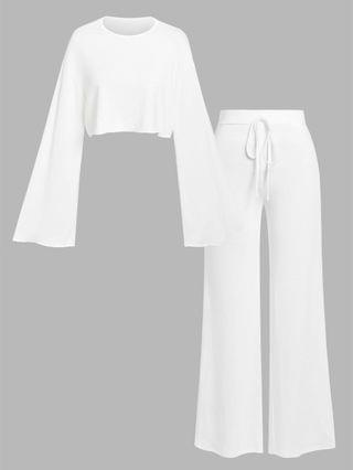WOMEN Solid Cropped Jersey Top And Flare Pants Set - White S