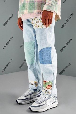 MEN Relaxed Fit Floral Cord Patchwork Jeans