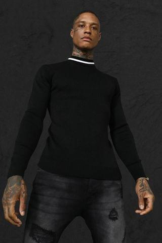 MEN Turtle Neck Muscle Fit Jumper With Stripes