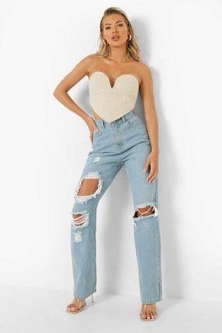 WOMEN 90's Straight Leg Jeans With Rips
