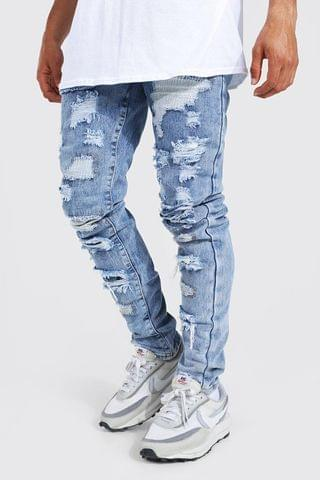 MEN Tapered Stacked All Over Rip Jeans