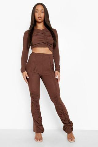 WOMEN Ribbed Ruched Wide Leg Trouser And Top
