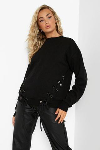 WOMEN Recycled Lace Up Side Sweater