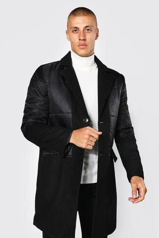 MEN Mixed Fabric Single Breasted Overcoat