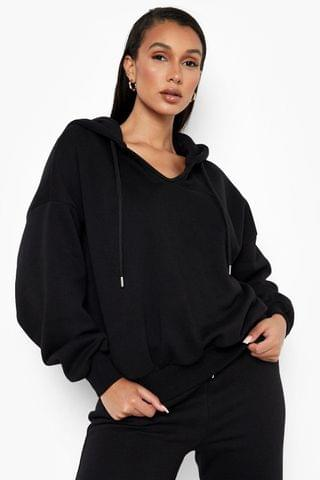 WOMEN Recycled Balloon Sleeve Notch Front Hoodie