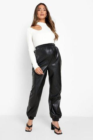 WOMEN Maternity Elasticated Waist Leather Trousers