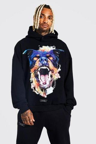 MEN Oversized Dog Graphic Washed Hoodie