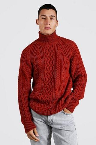 MEN Roll Neck Oversized Cable Knitted Jumper