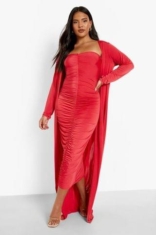 WOMEN Plus Ruched Bandeau Dress And Maxi Duster