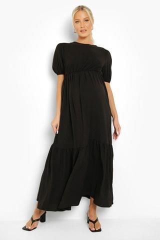 WOMEN Maternity Crinkle Tiered Midaxi Dress