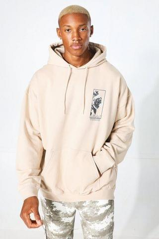 MEN Oversized Official Floral Back Graphic Hoodie