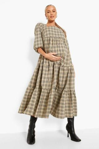 WOMEN Maternity Check Tiered Midaxi Dress