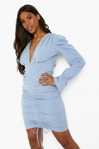 WOMEN Rouched Plunge Puff Sleeve Mini Dress