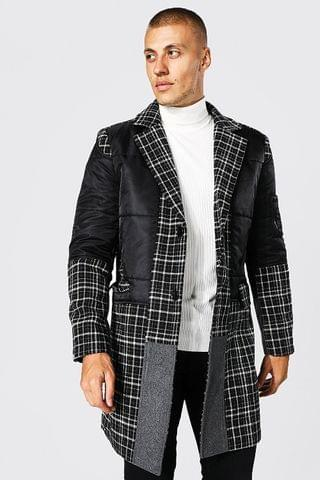 MEN Mixed Fabric Check Single Breasted Overcoat