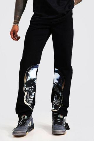 MEN Relaxed Fit Skull Graphic Print Jeans