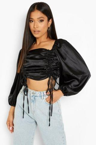 WOMEN Petite Satin Ruched Front Balloon Sleeve Crop
