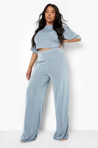 WOMEN Plus Slinky Top And Wide Leg Trouser Co Ord