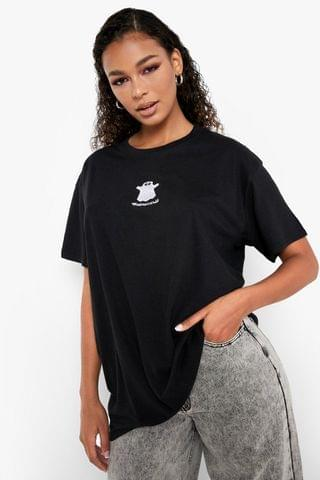 WOMEN Halloween Ghost Embroidered Oversized T-shirt