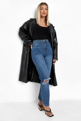 WOMEN High Rise Straight Leg Jeans With Busted Knee