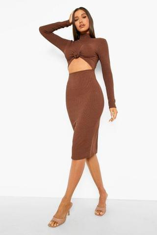 WOMEN Ribbed High Neck Knot Front Midi Dress