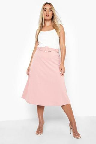 WOMEN Plus Belted A-line Midi Skirt