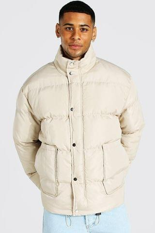 MEN Smart Funnel Neck Puffer With Patch Pocket