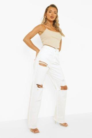 WOMEN High Rise Straight Leg Jeans With Rips