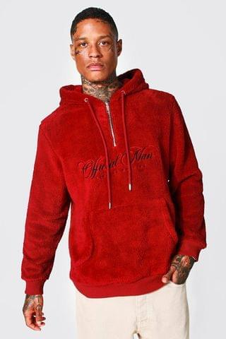 MEN Official Man Embroidered Borg 1/2 Zip Hoodie