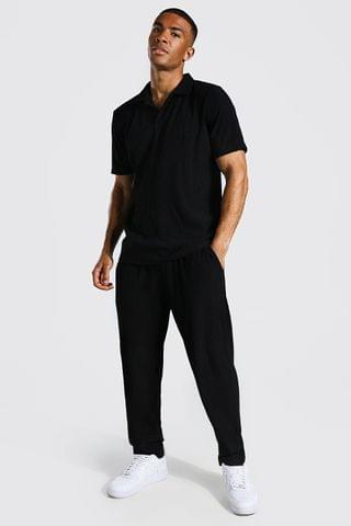 MEN Revere Neck Pleated Polo And Jogger Set