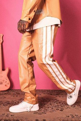 MEN Relaxed Fit Pu Side Stripe Trousers