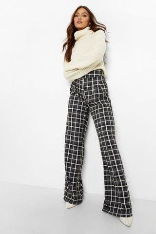 WOMEN Check High Waisted Woven Formal Trousers
