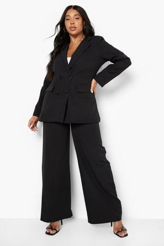 WOMEN Plus Belted Tailored Wide Leg Suit Trousers