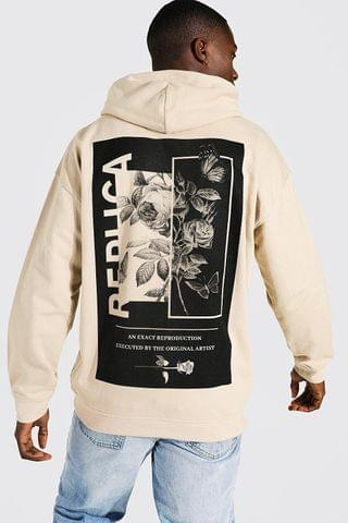 MEN Oversized Mono Floral Back Graphic Hoodie