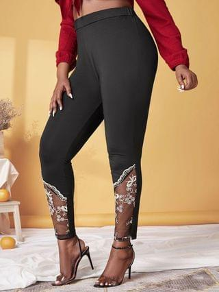 WOMEN Plus Size High Rise Embroidered Mesh Skinny Pants