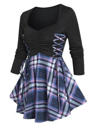WOMEN Ruched Bust Plaid Flare T Shirt