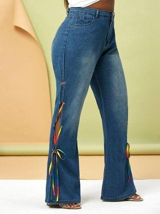 WOMEN Plus Size Colorful Lace Up Side Flare Jeans