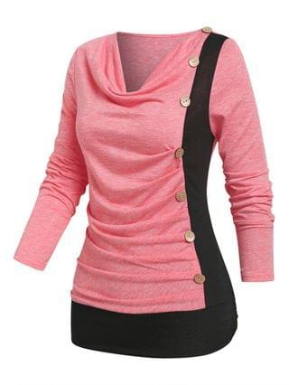 WOMEN Cowl Neck Mock Button Ruched Contrast T-shirt