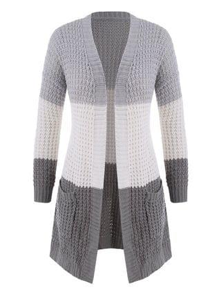 WOMEN Plus Size Colorblock Chunky Open Front Cardigan