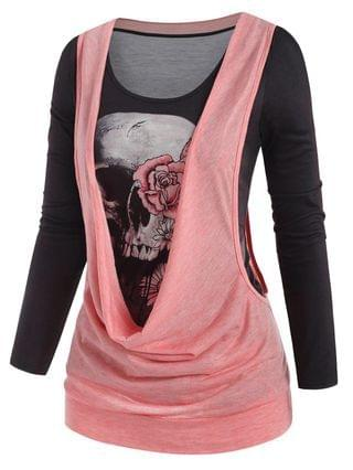 WOMEN Halloween Skull Print T-shirt and Cowl Front Drop Armhole Top