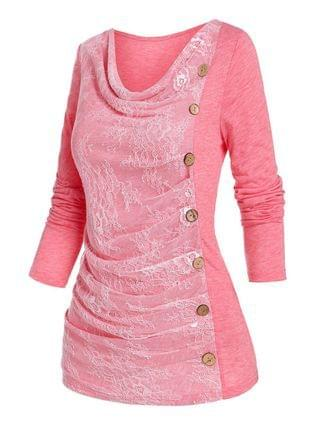 WOMEN Side Buttons Lace Ruched T Shirt