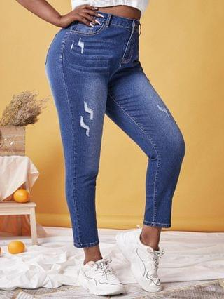 WOMEN Plus Size High Rise Ripped Skinny Jeans
