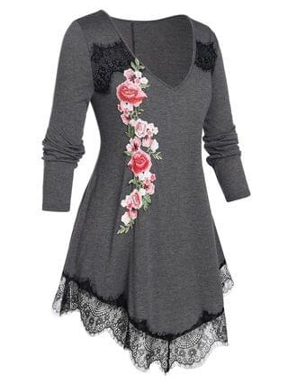 WOMEN Plus Size Embroidered Flower Lace Edge T Shirt