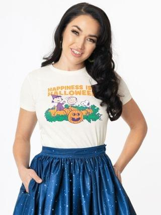 WOMEN Preorder - Peanuts x Unique Vintage Happiness Is Halloween Fitted Tee