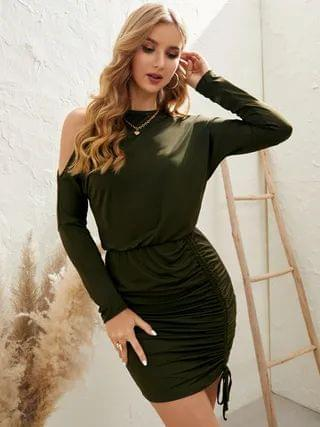 WOMEN YOINS Army Green Cut Out Cold Shoulder Ruched Long Sleeves Mini Dress