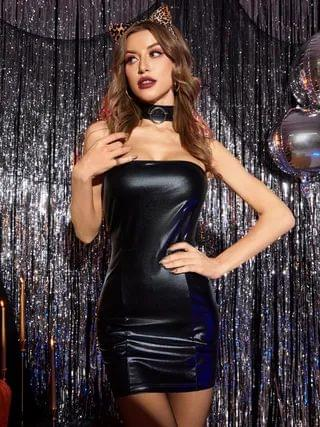 WOMEN Sexy Black Backless Design Strapless Tube Dress Without Choker