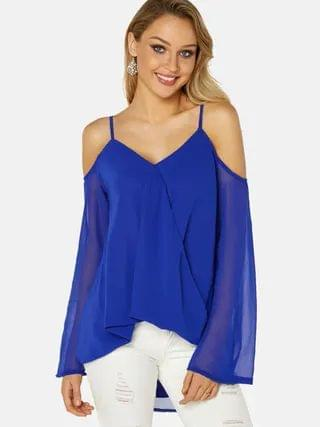 WOMEN Blue Crossed Front Design Cold Shoulder Parially Lined Top