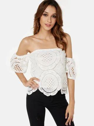 WOMEN White Lace Off Shoulder With Lining Blouse