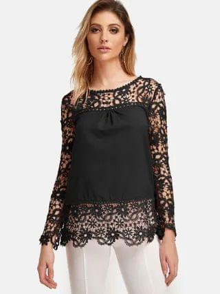 WOMEN Black Lace Hollow Design Round Neck Long Sleeves Blouses