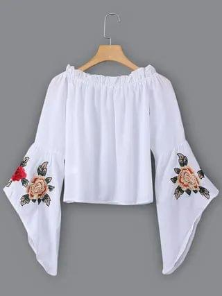 WOMEN White Embroidered Off The Shoulder Bell Sleeves Blouses