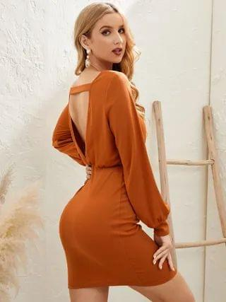 WOMEN YOINS Cut Out Backless Design Round Neck Long Sleeves Mini Dress